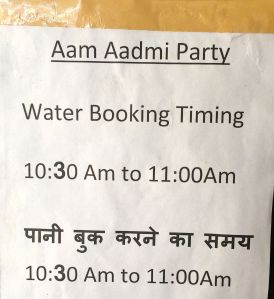 People can come to Ashok Kumar's office between 10:30 AM to 11 AM to schedule water delivery over the following week.